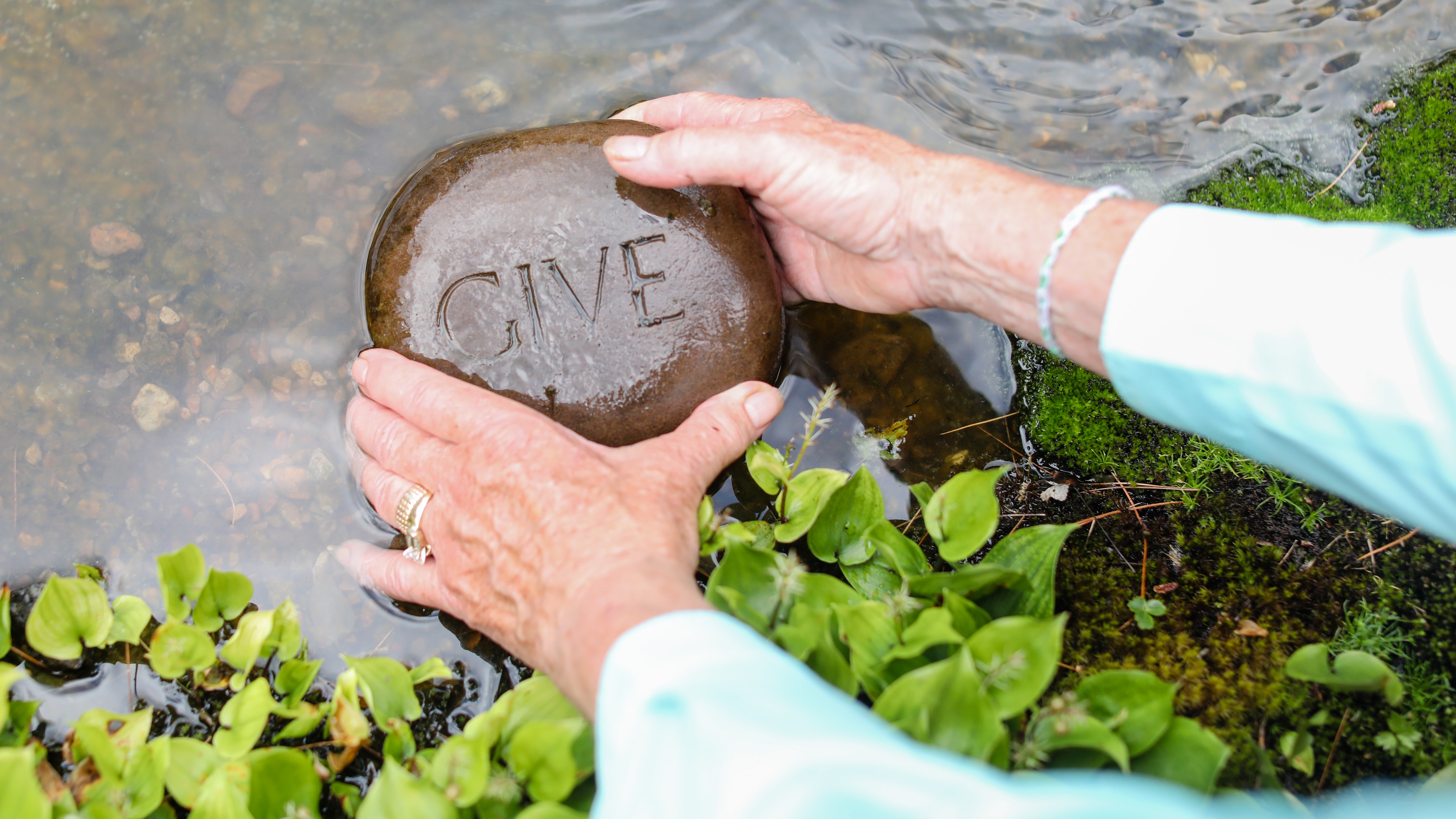 Hands holding rock engraved with the word give in water